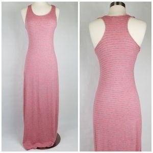 Pink Rose striped knit racerback tank maxi dress